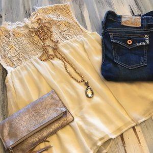 Precious cream and gold blouse
